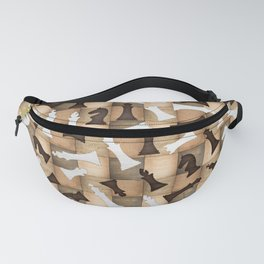 Chess Figures Pattern -Wooden Texture Fanny Pack
