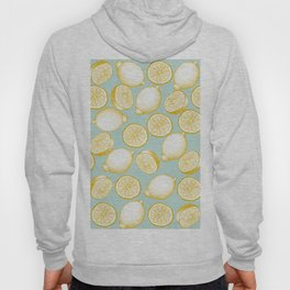 Lemons On Turquoise Background Hoody