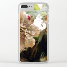 Peach Coral Green Abstract Impressionistic Flowers Wall Prints Home Decor Clear iPhone Case