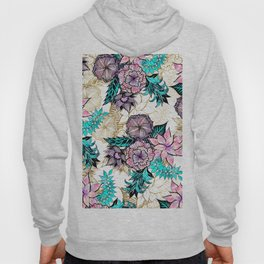 Girly Gold Floral Illustrations Watercolor Teal Pink Purple Hoody