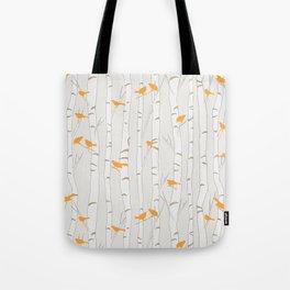 Birds & Birch - Orange Beige Tote Bag