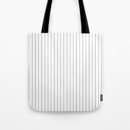 White Black Pinstripes Minimalist Tote Bag