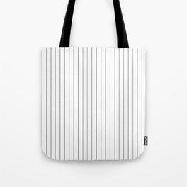 White Black Pinstripes Minimalist Tote Bag