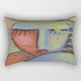 Woman with Beachy Hair Abstract Acrylic Painting on OSB Board Rectangular Pillow