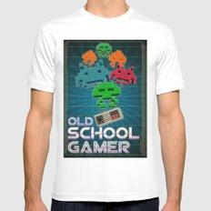 Old School Gamer White MEDIUM Mens Fitted Tee