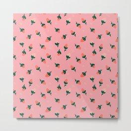 Falling Strawberries Pattern in Pink Metal Print