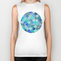 boho Biker Tanks featuring Cobalt Blue, Aqua & Gold Decorative Moroccan Tile Pattern by micklyn