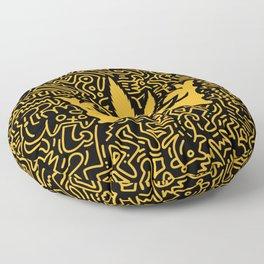 Uptown Growlab Gold Cannabis Crown and Script Wordmark Floor Pillow
