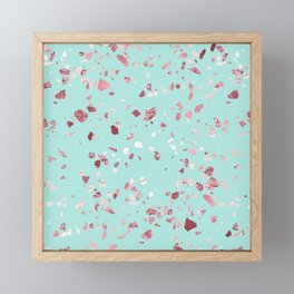 Turquoise and Rosegold Glitter Terrazzo Framed Mini Art Print