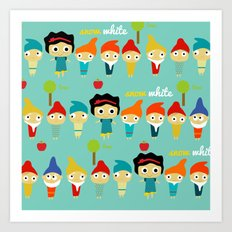Snow White and the 7 dwarfs Art Print