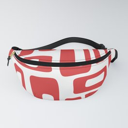 Retro Mid Century Modern Abstract Pattern 336 Red Fanny Pack