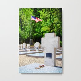 Memorial WWII cemetery gravestones with USA flag blurred in background Metal Print