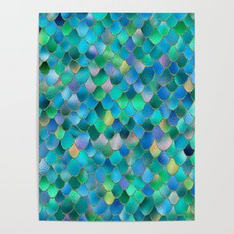 Summer Ocean Metal Mermaid Scales Poster