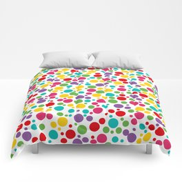 Colorful Abstract Rainbow Polkadot Comforters