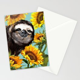 Sloth with Sunflowers Stationery Cards