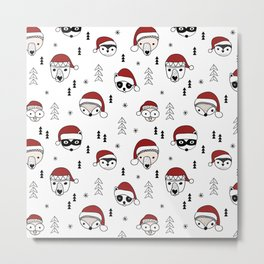 Scandinavian geometric woodland santa indian animals christmas pattern white red Metal Print