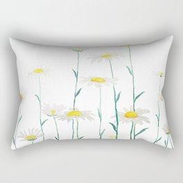 white daisy watercolor horizontal Rectangular Pillow