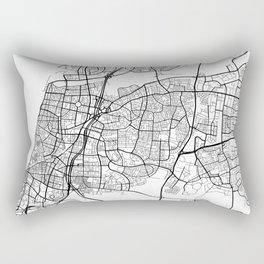 Tel Aviv Map, Israel - Black and White Rectangular Pillow