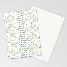 Gold Aqua Geometric Pattern 1.0 Stationery Cards