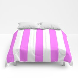 Fuchsia pink - solid color - white vertical lines pattern Comforters