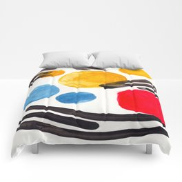 Mid Century Modern Abstract Juvenile childrens Fun Art Primary Colors Watercolor Minimalist Pop Art Comforters