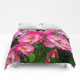 SPRING FUCHSIA PINK ROSES GARDEN ART PATTERN Comforters