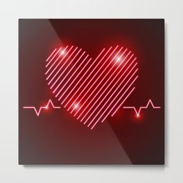 Neon Red EKG Heart Metal Print
