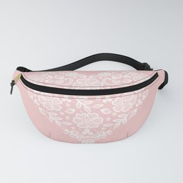 Millennial Pink Blush Rose Quartz Hearts Lace Flowers Pattern Fanny Pack