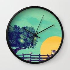 Cow Sunset Wall Clock