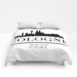 COLOGNE GERMANY BLACK SILHOUETTE SKYLINE ART Comforters