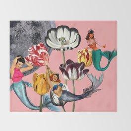 Mermaid Floral with moon Throw Blanket