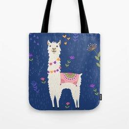 Llama on Blue Tote Bag