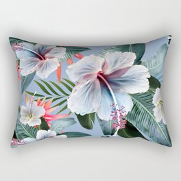Hawaii, tropical hibiscus vintage style blue dream palm leaves Rectangular Pillow