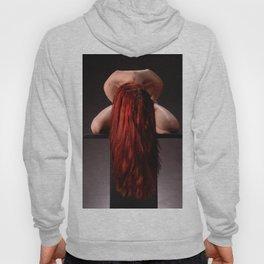0788-MAK Submissive Redhead Woman Kneeling On Pedestal Long Red Hair Hoody