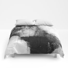 "Black and White Textured Abstract Painting ""Delve 3"" Comforters"