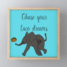 Baby Elephant Chase Your Taco Dreams! Framed Mini Art Print