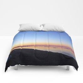Winter Beach Sunset Comforters