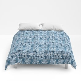 ELEPHANT SAFARI Tribal Indigo Ikat Pattern Comforters