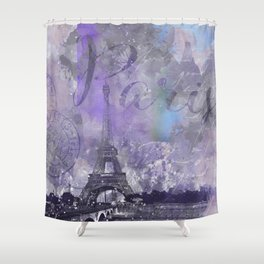 Purple Paris Watercolor Art Shower Curtain