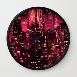 Red neon city Wall Clock