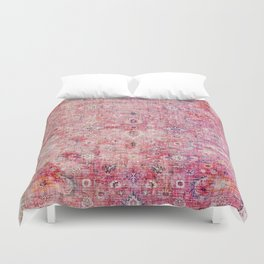 N45 - Pink Vintage Traditional Moroccan Boho & Farmhouse Style Artwork. Duvet Cover