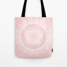 Bohemian Lace Paisley Mandala White on Pink Tote Bag