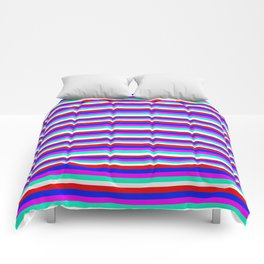 Colored Stripes - Fire Red Royal Blue Pink Mint White Comforters
