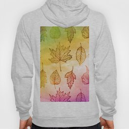 Colorful Autumn Leaf Watercolor Hoody