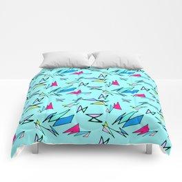 Wacky 80s//BLUE//Geo Pattern #3 Comforters