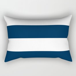 Wide Horizontal Stripes - White and Oxford Blue Rectangular Pillow