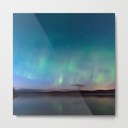 Norway Photography - Colorful Northern Lights Over A Lake Metal Print