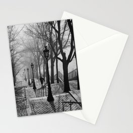 Sacre Coeur, Montmartre, Paris, France Stairs black and white photograph / black and white photography Stationery Cards
