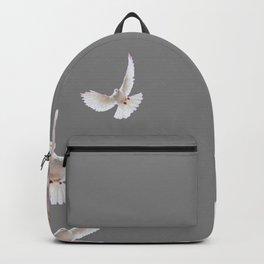 WHITE PEACE DOVES ON GREY COLOR DESIGN ART Backpack