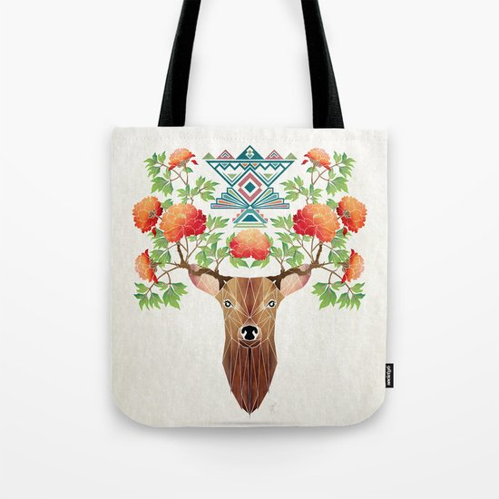 deer flowers Tote Bag